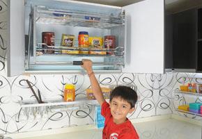 Pull Down Basket Modern Kitchen Modular Kitchen